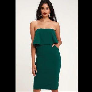 NWT LuLus Lots of Love Emerald Strapless Dress